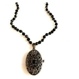 Monet black bead necklace w/Filigree locket